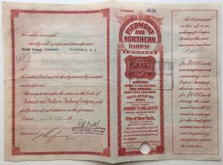 Partly-printed Signed Railroad Bond