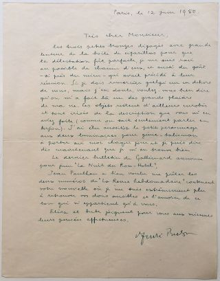 Autographed Letter Signed in French. Andre BRETON, 1896 - 1966