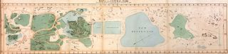 Map of the Central Park Showing the progress of the Works up to January 1st 1860; Scarce 1860 Vaux and Olmstead map of Central Park in the midst of construction. Calvert VAUX, , Frederick Law OLMSTEAD.