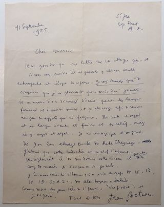 Autographed Letter Signed in French. Jean COCTEAU, 1889 - 1963