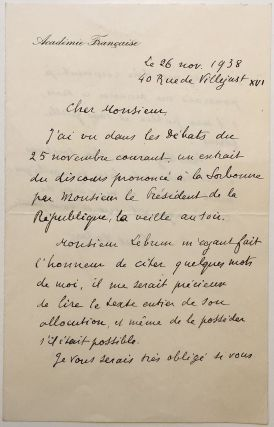 Autographed Letter Signed in French. Paul VALERY, 1871 - 1945