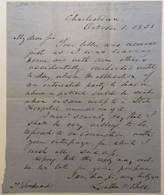 Autographed Letter Signed to a fellow doctor. Luther V. BELL, 1806 - 1862.