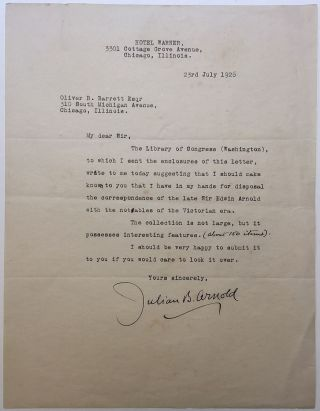 Typed Letter Signed to a noted book and autograph dealer. Julian B. ARNOLD, 1853 - 1929