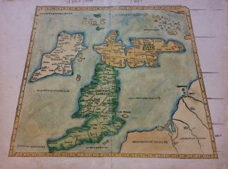 Tabula Prima Europe; Iconic Waldseemuller map with Scotland on an east-west orientation. Martin...