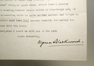 Typed letter signed. Algernon BLACKWOOD.