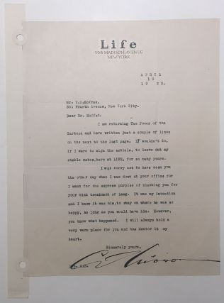 Typed Letter Signed on Life Magazine letterhead. Charles Dana GIBSON, 1867 - 1944