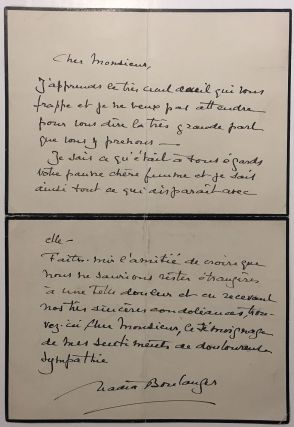 Eloquent Autographed Letter Signed in French. Nadia BOULANGER, 1887 - 1979
