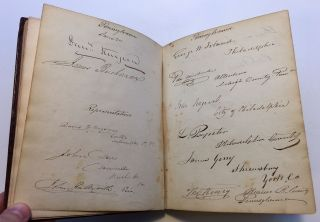 Vice President Richard M. Johnson's personal autograph ledger book with hundreds of signatures of Senators, Supreme Court Justices, Presidents, and more