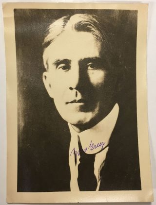 Signed photograph. Zane GREY, 1872 - 1939