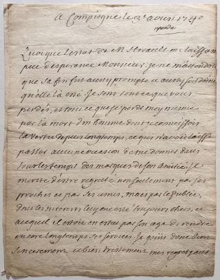 Autographed Letter Signed in French about the death of a colleague. Henri Francois D'AGUESSEAU, 1668 - 1751.