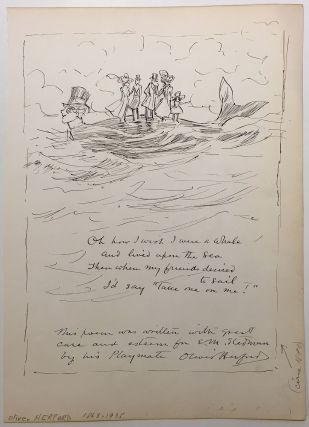 Original pen & ink illustration with a poem. Oliver HEREFORD, 1863 - 1935
