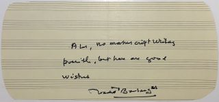 Autographed note signed on music paper. Nadia BOULANGER, 1887 - 1979