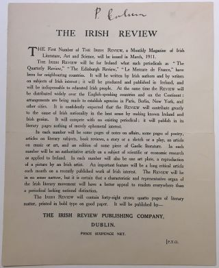 "Rare signed mailing circular launching ""The Irish Review"" Padraic COLUM, 1881 - 1972"