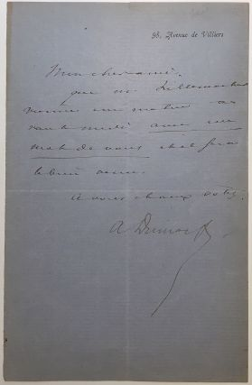 Autographed letter signed in French. Alexander DUMAS, fils, 1824 - 1895.