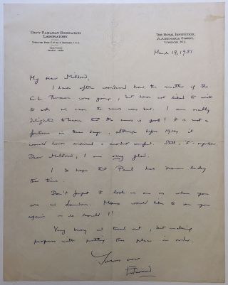 "Autographed Letter Signed on ""Royal Institution"" letterhead. Edward ANDRADE, 1887 - 1971."