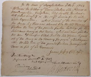 Signed legal document to a military widow. Benning WENTWORTH, 1696 - 1770.