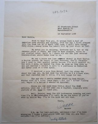 Typed Letter Signed with a handwritten addition. Isaac ASIMOV, 1920 - 1992
