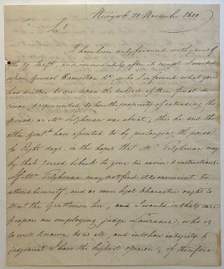 Important autographed letter signed to a former member of the Continental Congress. ALEXANDER HAMILTON.