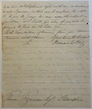 Important autographed letter signed to a former member of the Continental Congress