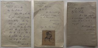 "Three autographed letters signed on ""The Atlantic Monthly"" letterhead. William Deans HOWELLS,..."