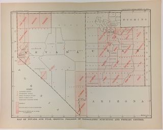 Map of Nevada and Utah, Showing Progress of Topographic Surveying and Primary Control. Charles...