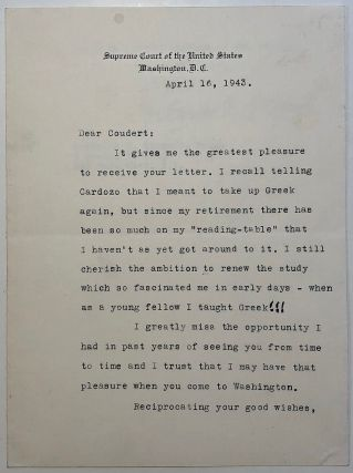 Typed Letter Signed on Supreme Court stationery. Charles Evans HUGHES, 1862 - 1948.