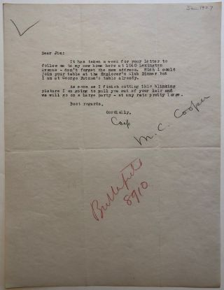 "Rare typed letter signed ""Coop"" Merian Caldwell COOPER, 1893 - 1973"