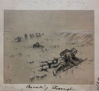Breaking Through; Original drawing from Our Lost Explorers: The Narrative of the Jeannette Arctic Expedition. WILLIAMS.