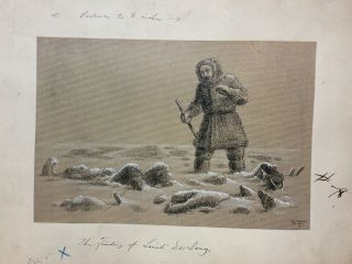 The Finding of Lieut. De Long; Original drawing from Our Lost Explorers: The Narrative of the Jeannette Arctic Expedition. WILLIAMS.