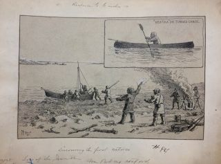 Discovering the first natives; Original drawing from Our Lost Explorers: The Narrative of the Jeannette Arctic Expedition. WILLIAMS.