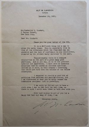 Outstanding typed letter signed about Franklin D. Roosevelt. Alf LANDON, 1887 - 1987