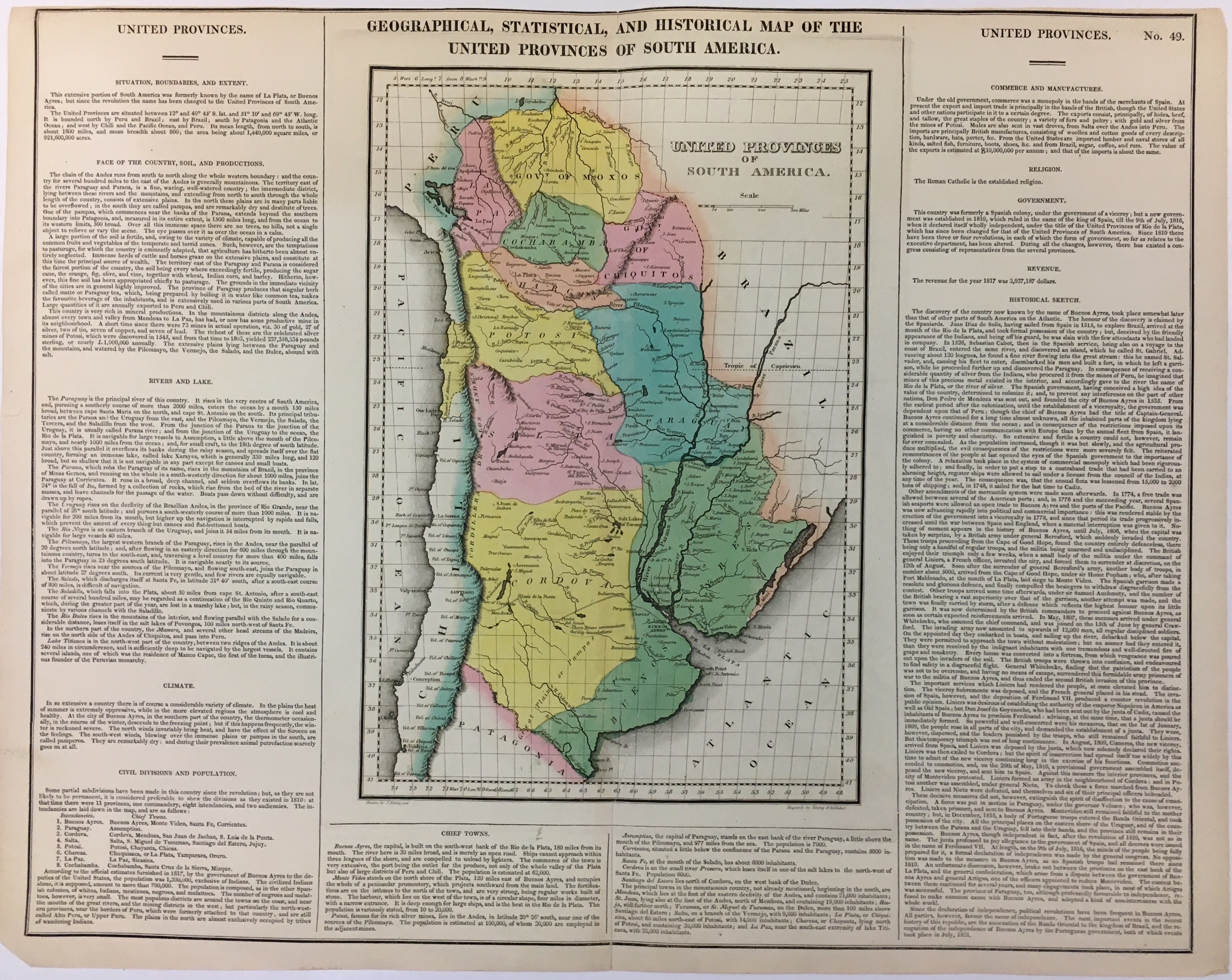 Geographical, Historical, and Statistical Map of the United Provinces of South America. CAREY, LEA
