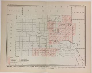 Map of Indian Territory, Oklahoma, and Northern Texas, Showing Progress of Topographic Surveying and Primary Control. Charles Doolittle WALCOTT.