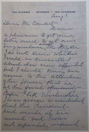 Autographed letter signed. Harlan F. STONE, 1872 - 1946