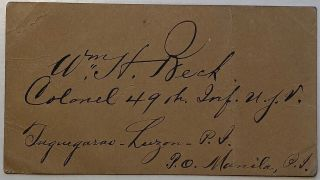 Signed war-date card. William Henry BECK, 1842 - 1911