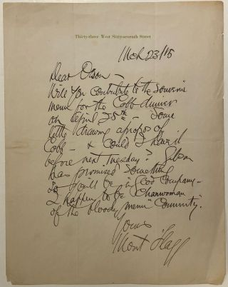 "Autographed letter signed ""Mont Flagg"" James Montgomery FLAGG, 1877 - 1960"