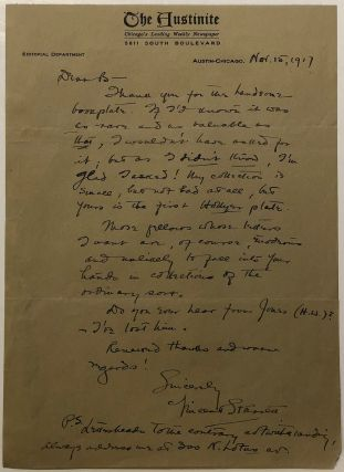 Autographed letter signed about a rare bookplate. Vincent STARRETT, 1886 - 1974.
