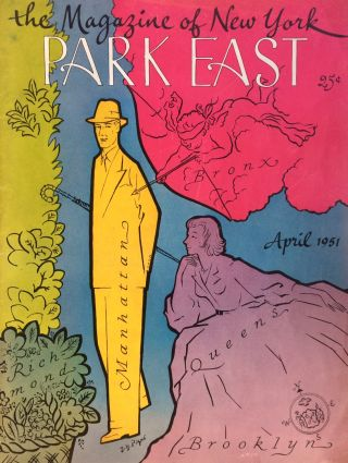 Park East The Magazine of New York cover April, 1951. J. Y. PIQUE.