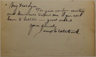 War-date autographed note signed to a Union general. James Edward ESTABROOK, 1829 - 1915