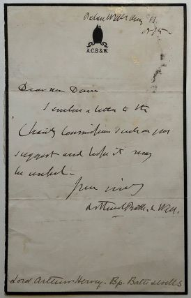 Autographed letter signed on personal stationery. Arthur Charles HERVEY, 1808 - 1894, Lord