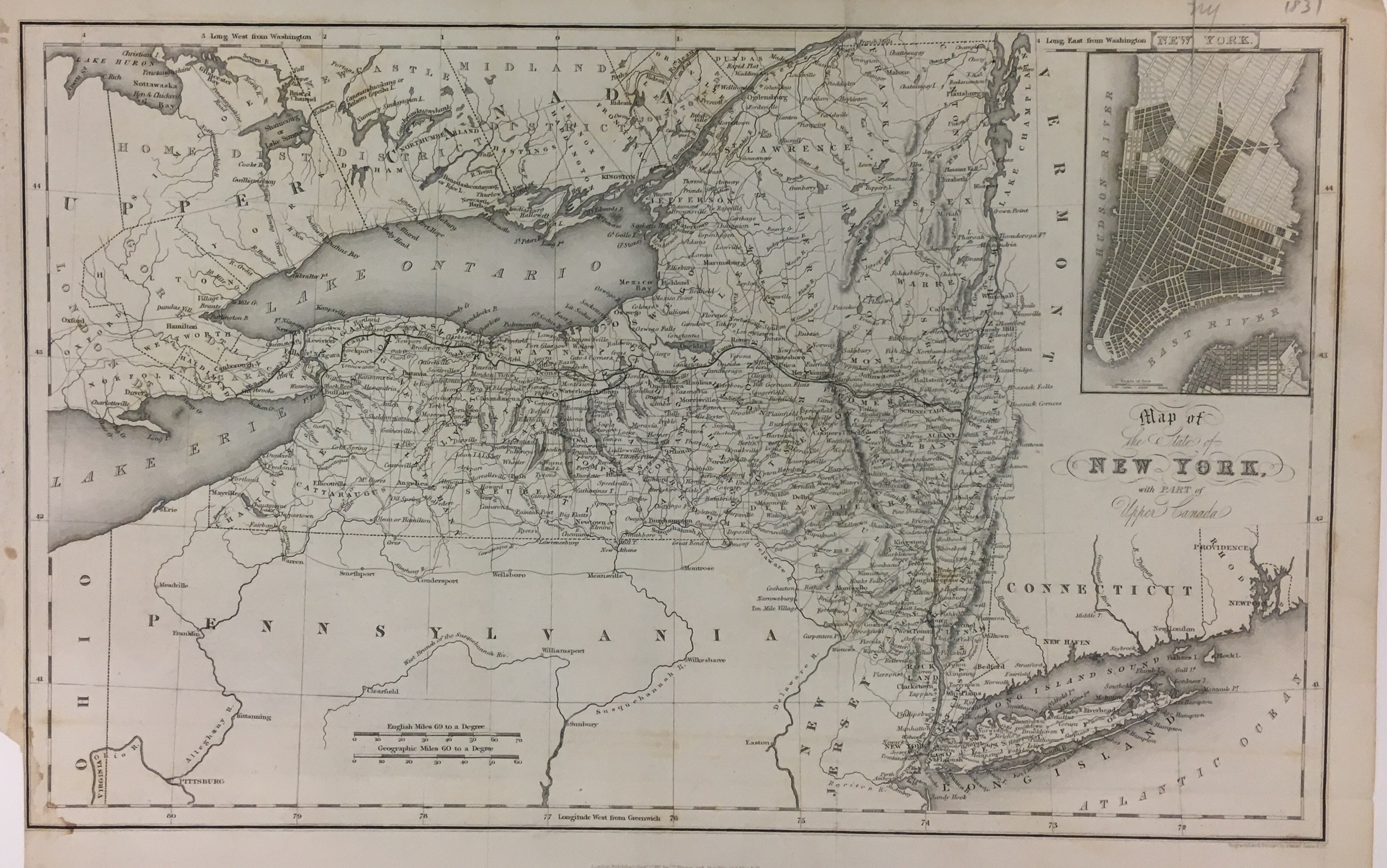 Map of the State of New York with Part of Upper Canada. Isaac Taylor HINTON.