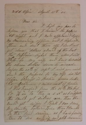 Union Navy Autographed Letter Signed. CIVIL WAR: A. WISCONSIN SAILOR ABOARD THE USS ELFIN