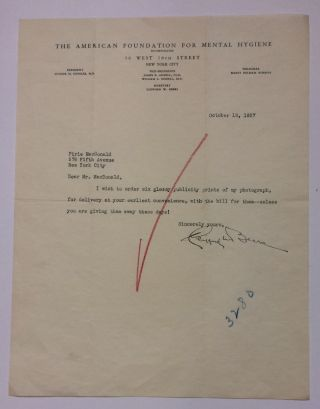 Typed Letter Signed. Clifford W. BEERS, 1876 - 1943