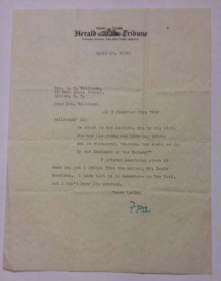 Typed Letter Signed. Franklin Pierce ADAMS, 1881 - 1960