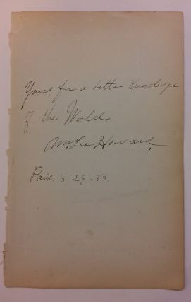 Autographed Quotation Signed. William Lee HOWARD, 1860 - 1918