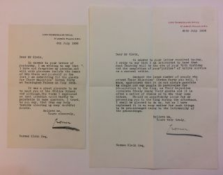 Typed Letters Signed (Two). Rowland BARING, 2nd Earl of Cromer, 1877 - 1953