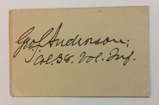 Signed Card. George Smith ANDERSON, 1849 - 1915