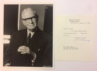 Typed Signed Letter and Signed Photograph. Bernard M. BARUCH, 1870 - 1965