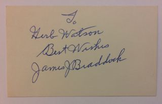 Signed Card. James J. BRADDOCK, 1905 - 1974.