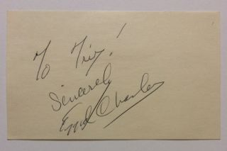 Signed Card. EZZARD CHARLES, 1921 - 1975